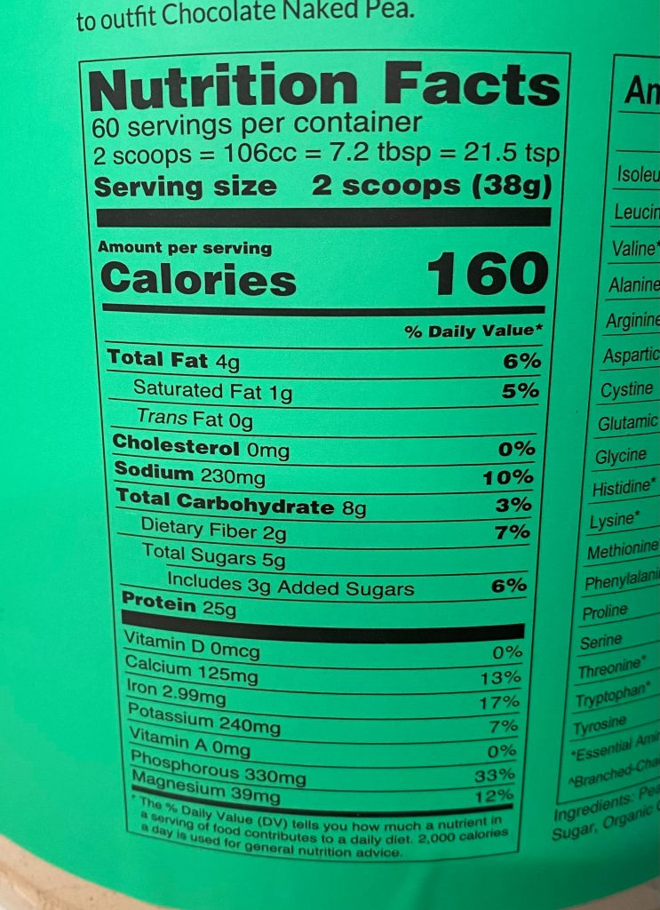 Naked Pea Nutrition Label
